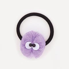紫/目玉つきレースヘアゴム