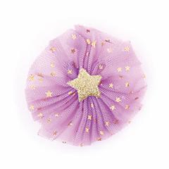 紫/星柄箔チュールにラメ星つきヘアクリップ