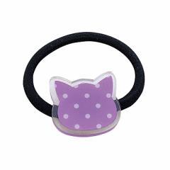 紫ネコのプレートヘアゴム