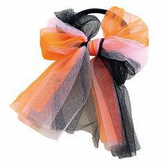 橙&黒&桃のチュールリボンヘアゴム