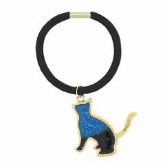青&黒グラデ/ラメ入りネコがゆれるヘアゴム