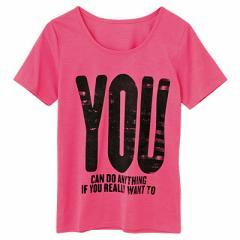 ピンク/ビッグロゴプリントTシャツ/150cm