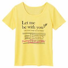 黄色/英字ロゴプリントTシャツ/150cm