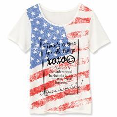 カラー/アメリカ国旗柄プリントTシャツ/150cm