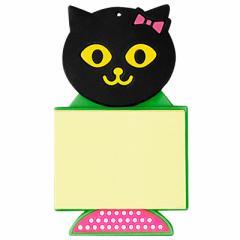 【大特価セール】黒ネコ顔マグネットつきはってはがせるメモ