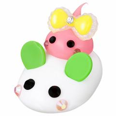 白雪ウサギのりピンクミニほっぺちゃんオブジェ