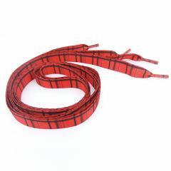 赤/チェック柄くつ紐