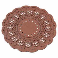 茶色/シリコン製フラワーコースター