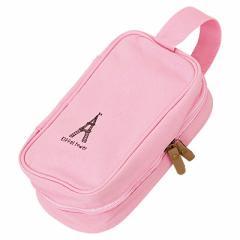 ピンク持ち手つきエッフェル塔デザイン大容量ポーチ