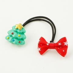 クリスマスツリー&リボン/ヘアゴム