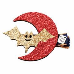 金&赤/月とコウモリののヘアクリップ