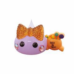 ラメ紫/お菓子持ちデカほっぺちゃんオブジェ