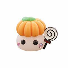 ラメ白/飴持ち&かぼちゃ帽子ほっぺちゃんオブジェ