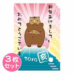 同柄3枚/富士山亥/年賀状用ポストカード