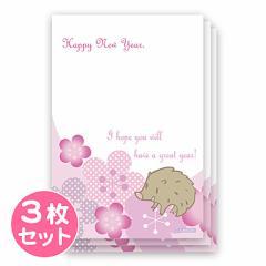 同柄3枚/梅柄亥/年賀状用ポストカード