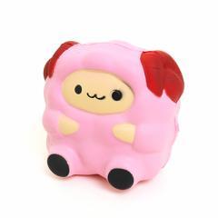 ピンク/おすわりヒツジのむにむにオブジェ
