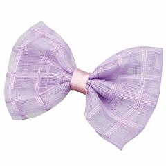 紫/透け素材のミニリボンヘアクリップ