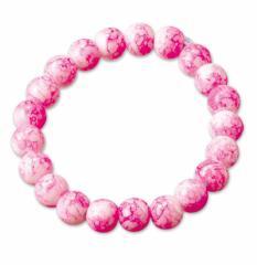 ピンク/マーブルビーズのゴムブレスレット