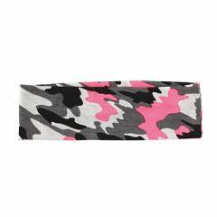 灰色/蛍光ピンクがポイントの迷彩柄ヘアバンド