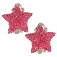 濃ピンク/星のビジュー風イヤリング
