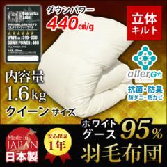 羽毛布団 A759QZ クイーン 日本製  ホワイトマザーグースダウン95% アレルGプラス加工 羽毛掛布団  秋 冬 新生活