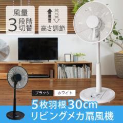 リビングメカ扇 リビング扇風機 30cm羽根 フラットガード TEKNOS KI-17 KI-1740W KI-1742K ホワイト ブラック