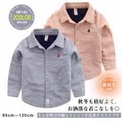 子供服  長袖シャツ ブラウス 中綿 チェック柄 前開き ショート丈 トップス インナー 厚地 アウター 防寒 あったか お出か