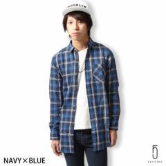 【sp5086】チェックシャツ ロング丈 ネルシャツ ロングシャツ メンズ/メンズファッション/カジュアルシャツ
