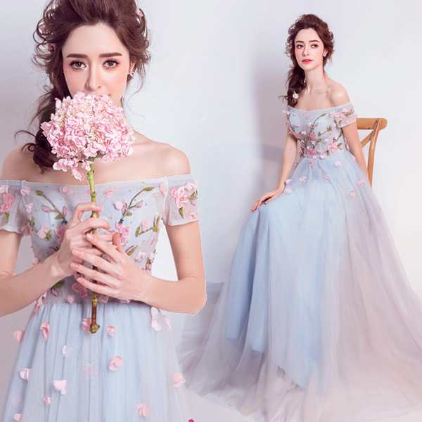 5659e5fc771d2 カラードレス ブルー ロング 花嫁 パーティードレス 演奏会 二次会フォーマル イブニングドレス 結婚式 ウエディング