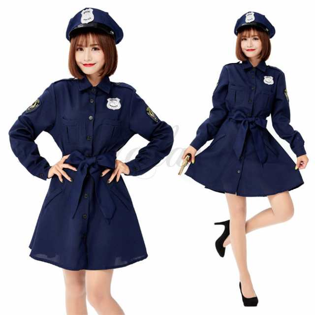 巡査部長 警官 ポリス 警察 婦警 帽子付き 長袖ワンピース 親子衣装 ...
