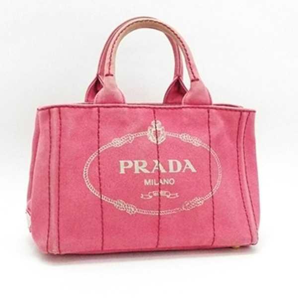 e237c4ddc4dc プラダ カナパ ミニ トートバッグ キャンバス ピンク B2439G 中古 Bランク PRADA| レディース 女性用