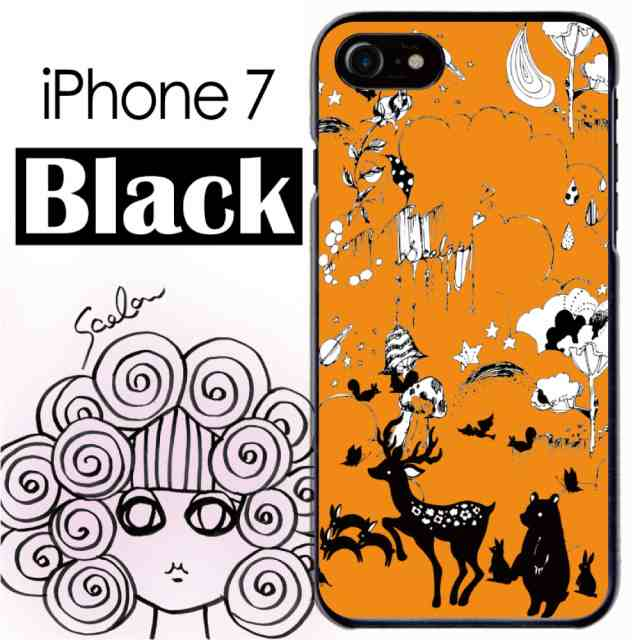 スカラー50137スマホケーススマホカバーiphone7ブラックタイプアイフォンメルヘン オレンジ色 たくさんの動物柄 かわいい ファッau Wowma