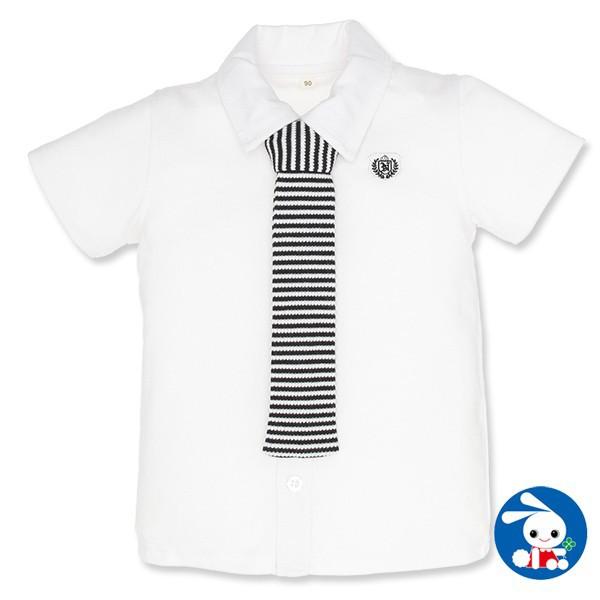 ストライプ柄ネクタイ付きフォーマルシャツ【80cm・90cm・95cm】
