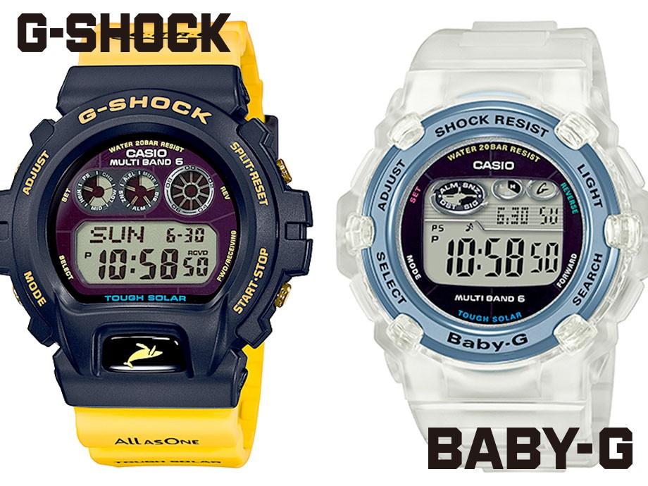 カシオ CASIO BABY-G 腕時計 BGR-3008K-7JR イルカクジラ 2018 イルクジ クリア コラボ レディース カシオ CASIO G-SHOCK 腕時計 GW-6902K-9JR イルカクジラ 2018 イルクジ イエロー コラボ メンズ レディース