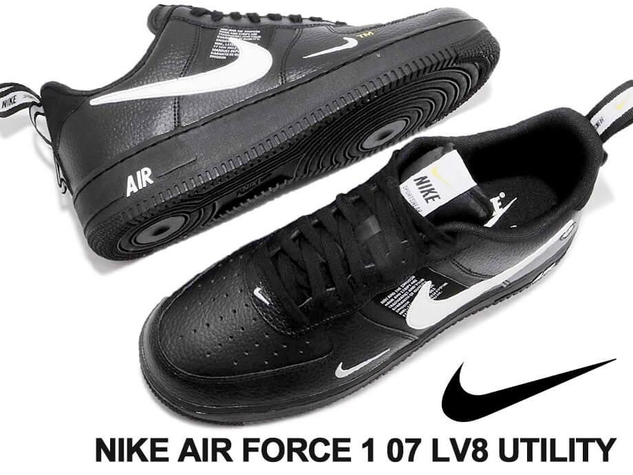ナイキ NIKE エアフォース1 スニーカー メンズ AIR FORCE 1 07 LV8 UTILITY AJ7747-001 ブラック