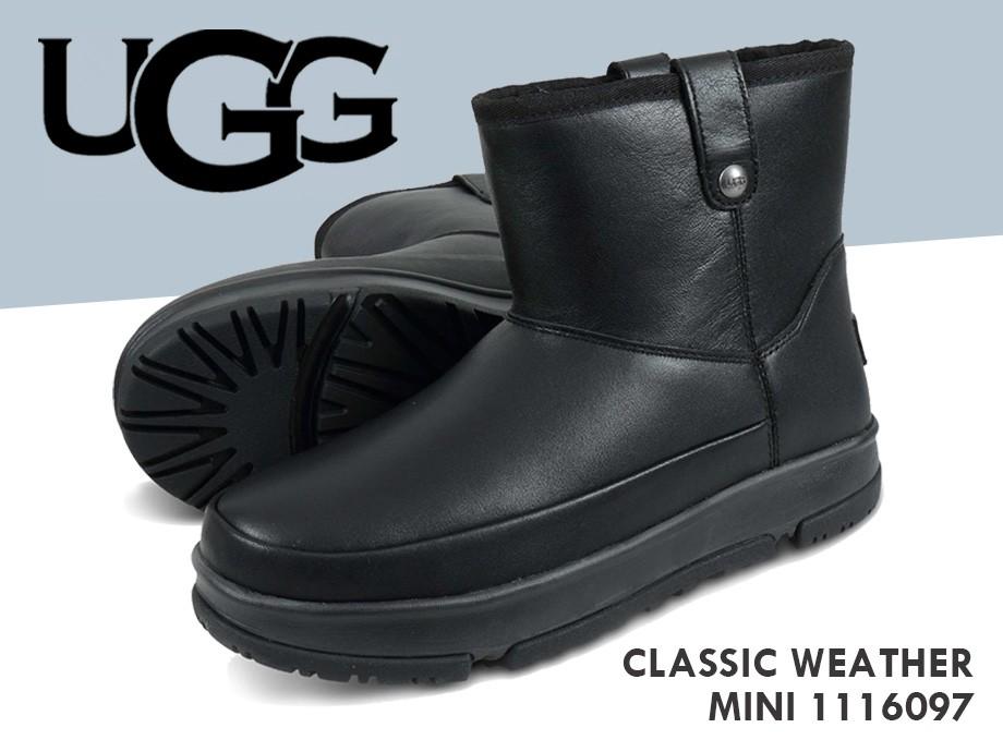 UGG アグ ブーツ クラシック ウェザー ミニ レディース CLASSIC WEATHER MINI ブラック 黒