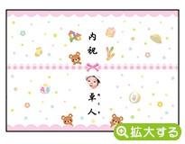 出産内祝・各種内祝用のし紙【A-8 くま ピンク(写真入)】
