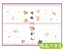 出産内祝・各種内祝用のし紙【G-8 ねこ ピンク(写真入)】
