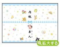 出産内祝・各種内祝用のし紙【H-8 ねこ ブルー(写真入)】
