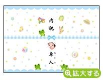 出産内祝・各種内祝用のし紙【J-8 かえる ブルー(写真入)】