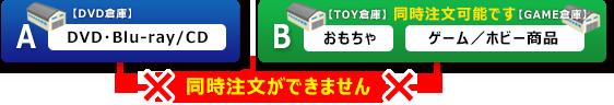 DVD/CD商品 と おもちゃ/ゲーム商品 はシステムの都合により同時にご注文ができませんの画像