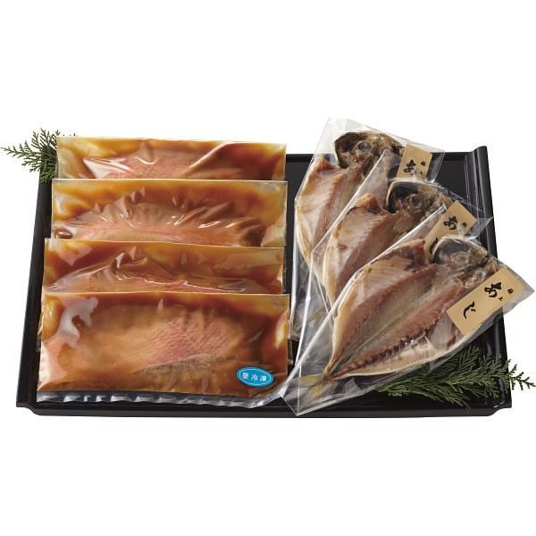 【送料無料】静岡県産 金目鯛の味噌漬&あじ干物セット【ギフト館】