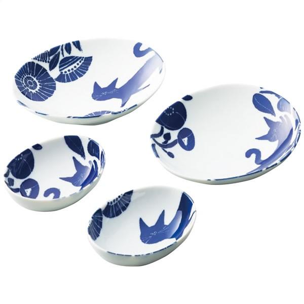 【送料無料】【母の日】猫部×ココア 母の日 ブルー散歩道 楕円カレー皿&小鉢ペア NCO-96【ギフト館】