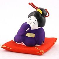 土鈴 お福さん (紫)【返品・交換・キャンセル不可】【逸品館】