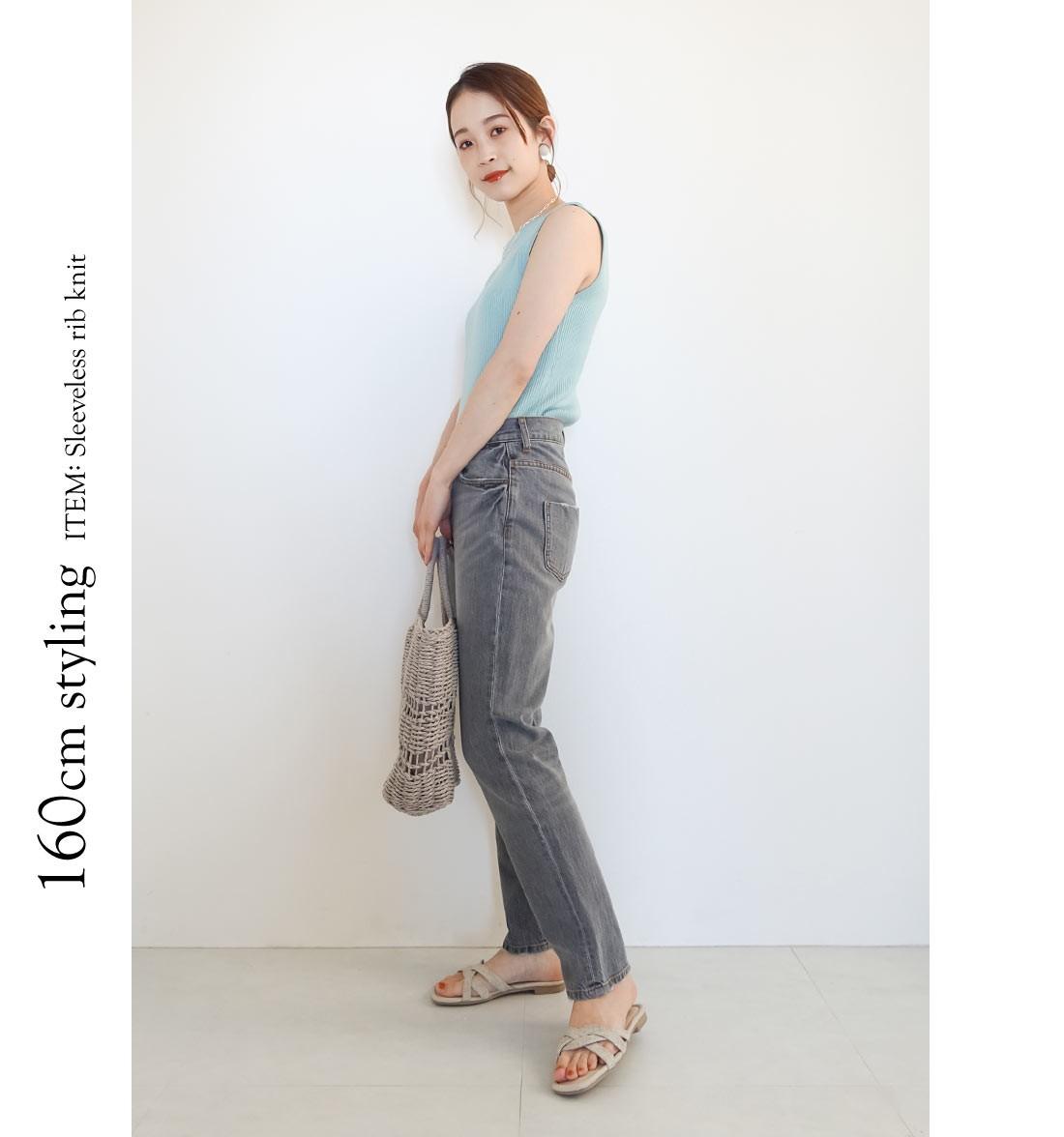 160cm styling ITEM: Sleeveless rib knit