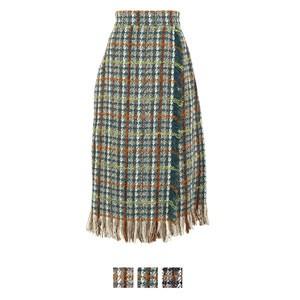 フリンジツイードラップスカート
