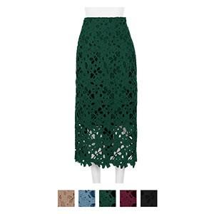 選べる2サイズ フラワーレースタイトスカート