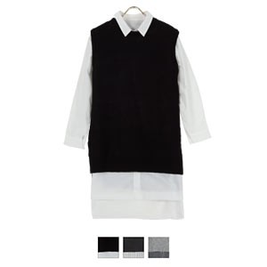ロングニットベスト×シャツワンピ2点SET