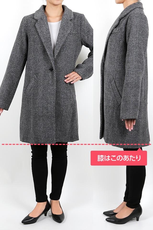 158cmのモデルが着丈86cmのコートを着たイメージ