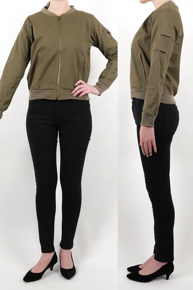 172cmのモデルが着丈55cmのジャケットを着たイメージ